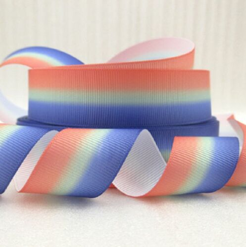 "1m pride pastel stripe summer ruban 3//8 9mm 7//8 22mm /& 1/"" 25mm cheveux bow gâteau"