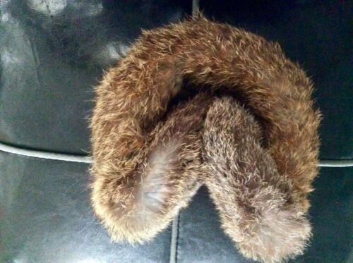 Vintage Classic Genuine soft rabbit fur brown e