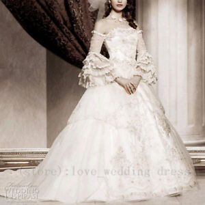 Image Is Loading Victorian Gothic Ball Gown Wedding Dress Off Shoulder