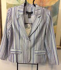 QVC Dialogue Blazer Jacket Blue Striped NWT Size L Nice Lined Rayon Poly