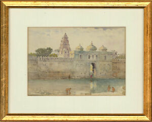 E-G-Early-20th-Century-Watercolour-Indonesian-Temple-By-The-River