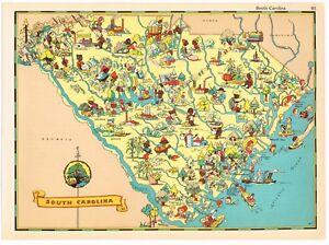 Ruth Taylor Vintage South Carolina Map Cartoon Pictorial Genuine