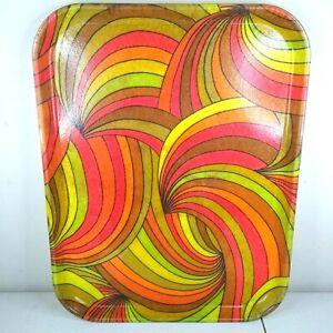 VTG SiLite Fiberglass Psychadelic Serving Tray Rolling Hippy Bright Colors MCM