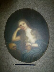 Original-Antique-old-Oil-painting-on-Paper-Portrait-Naked-Lady-amp-Skull-Gothic