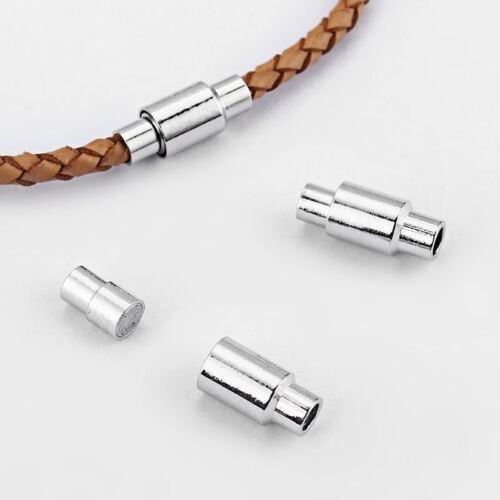 Ton Argent Fermoir Magnétique Embouts pour 3 mm 4 mm 5 mm 6 mm Cordon Cuir Collier