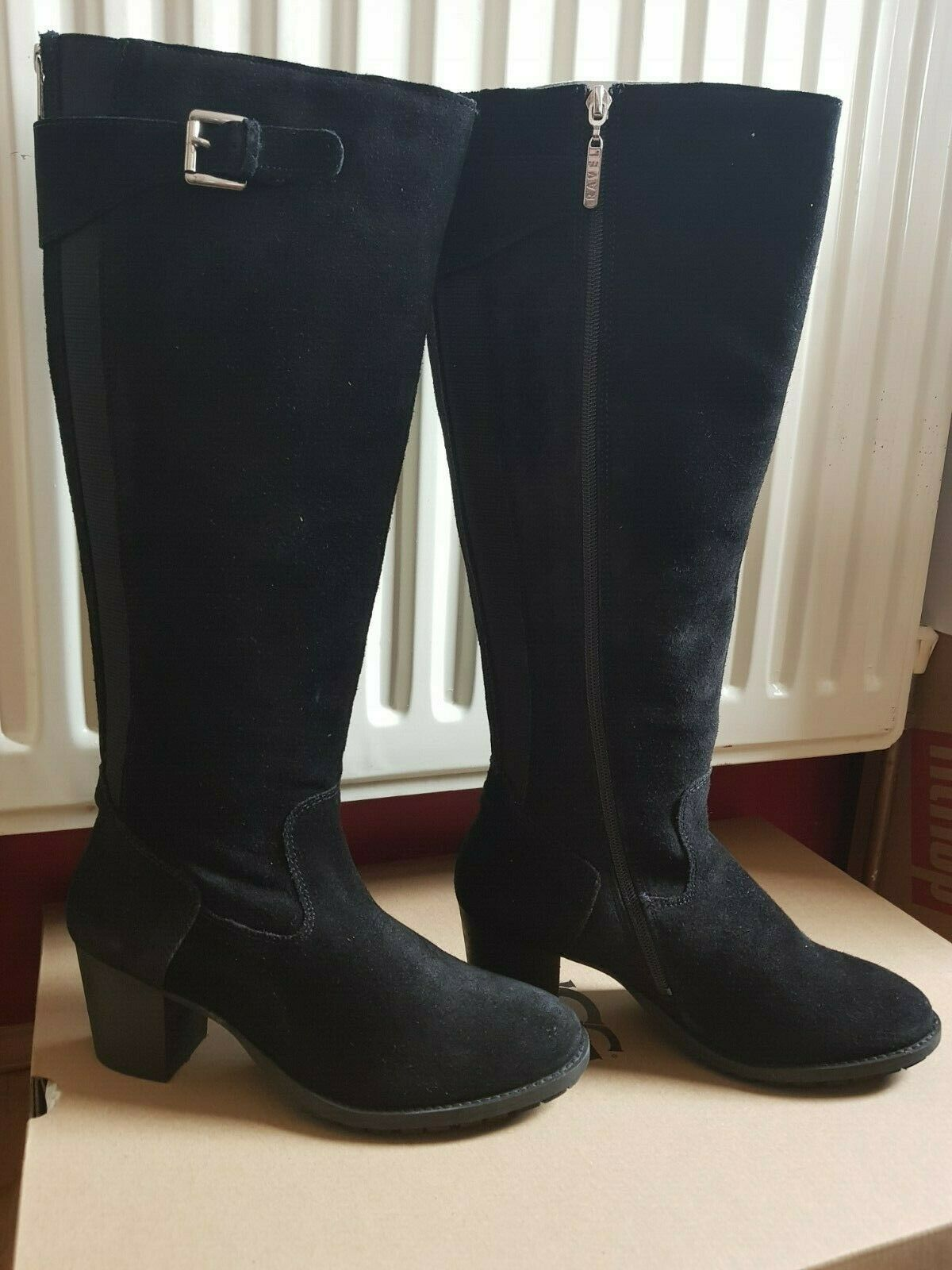 RAVEL Knee Length Suede Leather Boots - BLACK - UK7 - BNIB