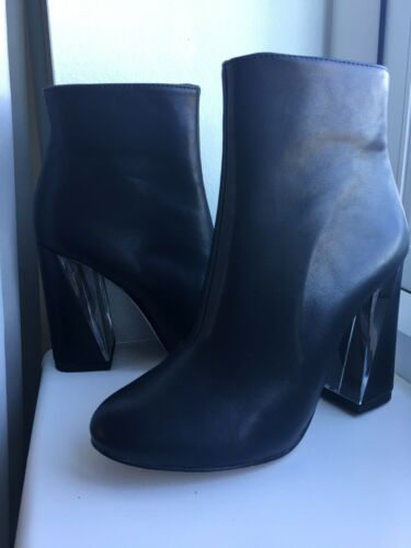 taille clair noires demi Nouvelles bottines talon en cuir véritable 3 36 x84fU8
