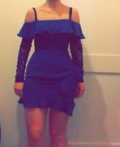 bf2c45cfd0 Image is loading Size-10-BNWT-Blue-Off-The-Shoulder-Dress-