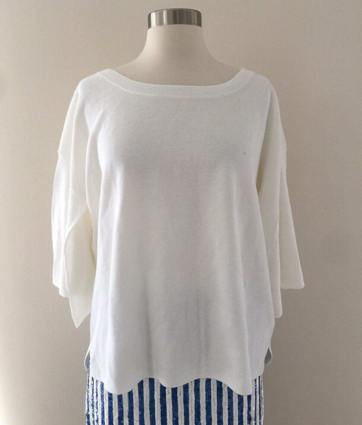 JCrew Dramatic-sleeve sweater in summerweight cotton White G3606 Size L XL NEW