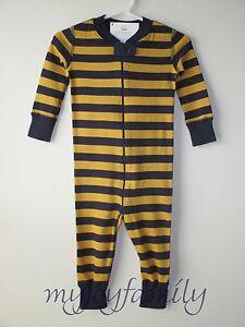 HANNA ANDERSSON Baby Organic Zip Sleeper Navy Maple Stripe 60 6-9 ... 2bc804898