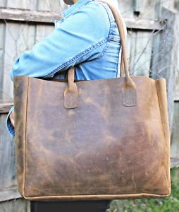 100/% Genuine Cowhide Leather Tote Bag Handbag Work Laptop Bag Crossbody bag