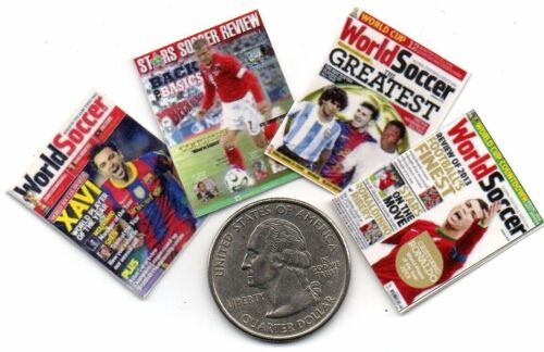 4 Mini -  Soccer / Football  MAGAZINES - Dollhouse 1:12 scale OPENING WITH PAGES