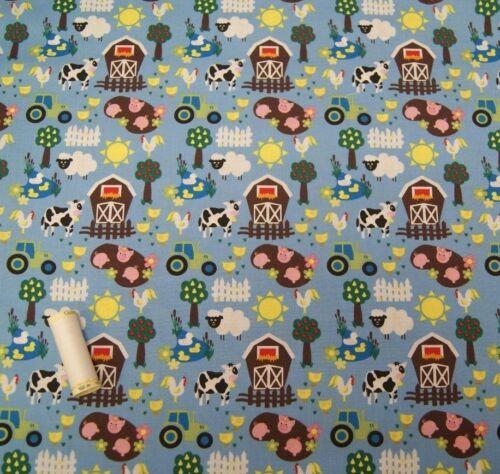 Cotton Fabric FARMYARD Dressmaking Craft Quilting by Fabric Freedom