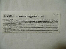 1997 Lionel Electric Trains Authorized Service Centers List Service Policy Paper