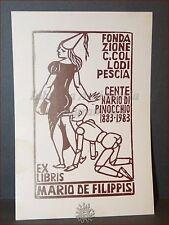 EROTICA - Ex-Libris Originale Costantini PINOCCHIO Collodi PESCIA De Filippis