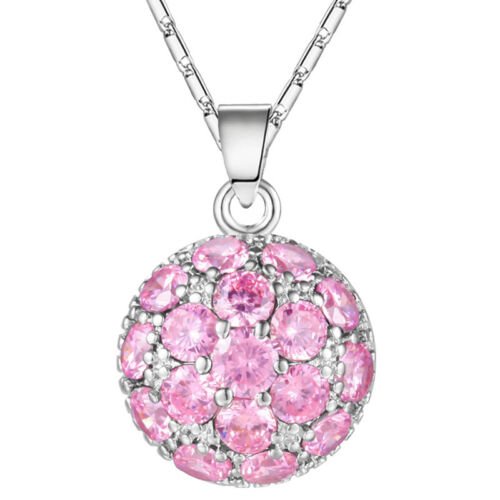 Saint-Valentin romantique naturel Cercle Rose Zircon Plaqué Platine Pendentif Chaîne
