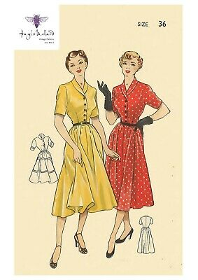 """Vintage 1940s Sewing Pattern Buttoned Front Midi Dress WWII WW2 Bust 34/"""""""