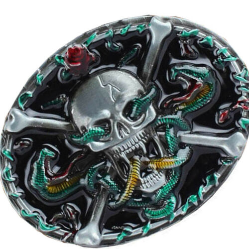 Gothic Belt Buckle Skeleton Skull Beauty Flower Painted Rock Western Biker