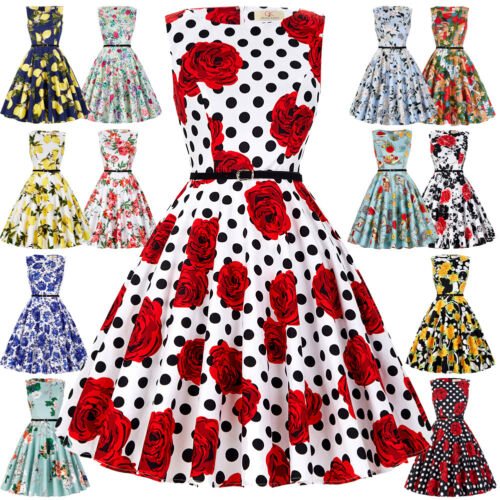 Lady Vintage Style 50s 60s Pinup Housewife Evening Tea Swing Floral Dress XS//S//L