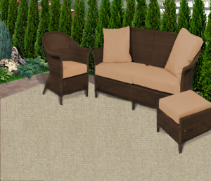 Details about Casual Boucle Weathered Teak 20 oz Olefin Level Loop  Indoor-Outdoor Area Rug