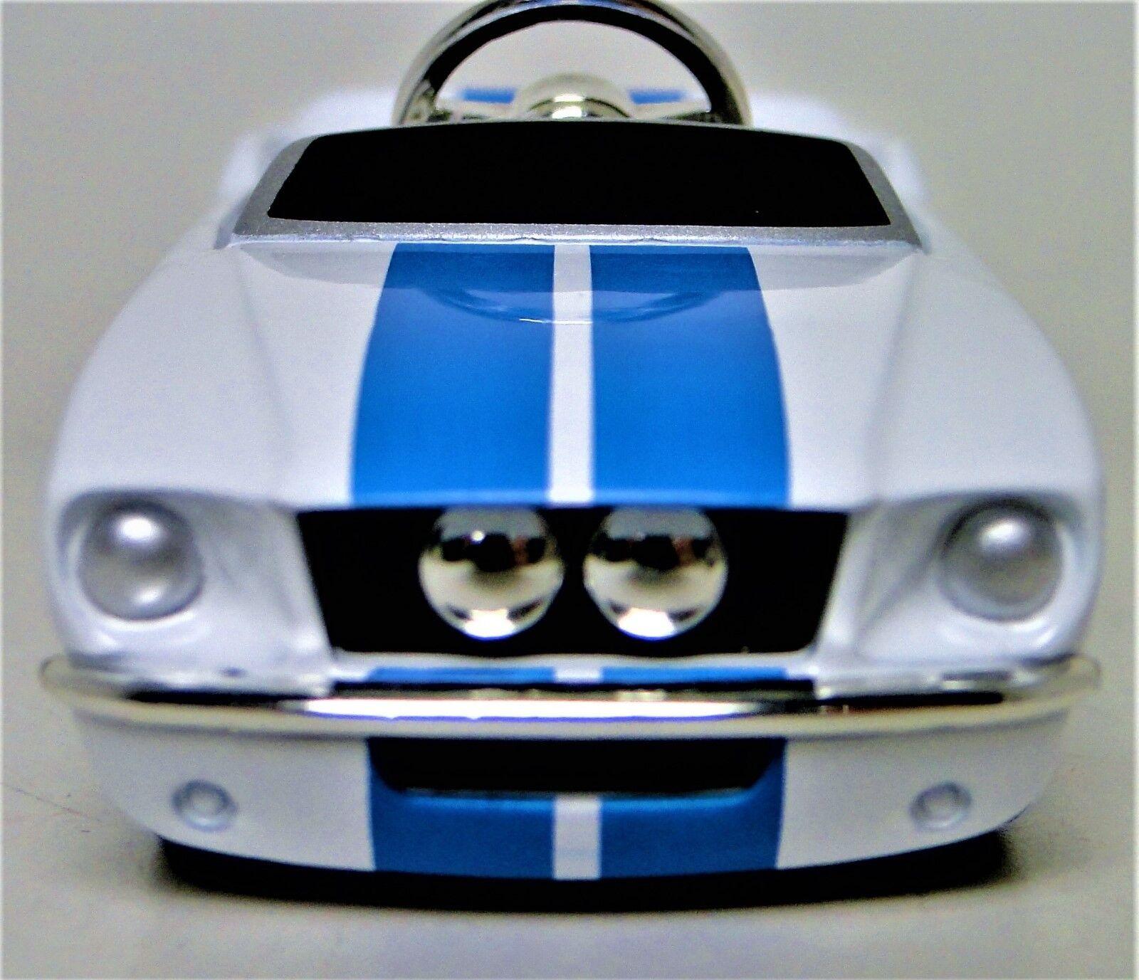 Ford Pedal bil Mustang 1960 -talet årgång blå Strip Metal modellllerler Length  3.25 tum