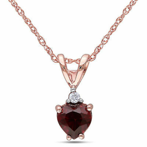 """Amour 10k Rose Gold Garnet and Diamond Accent Heart Necklace Pendant 17/"""""""