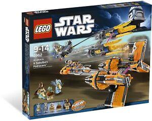 Lego-7962-Star-Wars-Anakin-Skywalker-and-Sebulba-039-s-Podracers-Brand-New-Sealed