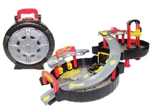 Spare Wheel Carry Case Play set w Car Lift, Parking Lot, Car Wash, Helipad New