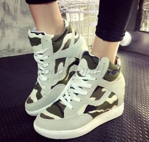 Womens Camo Lace Up Athletic Sneakers Casual Creepers Wedge Heels Sports Shoes