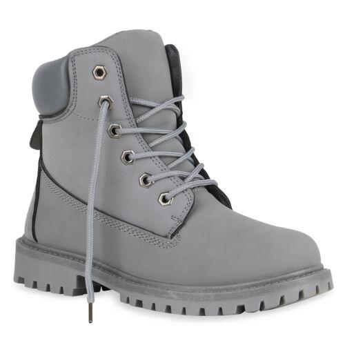 892330 Damen Stiefeletten Outdoor Schuhe Profilsohle Worker Boots Top