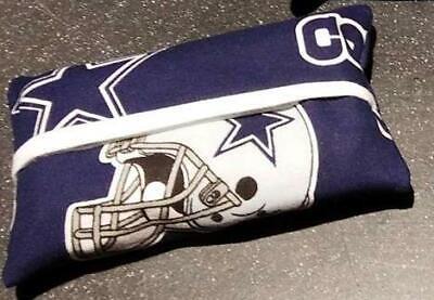 Dallas Cowboys Blue Star Silver Chevron Cotton Fabric Travel Tissue Pouch Holder