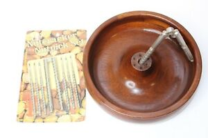 Vintage-Wood-Nut-Bowl-With-Metal-Nutcrackers-And-Picks