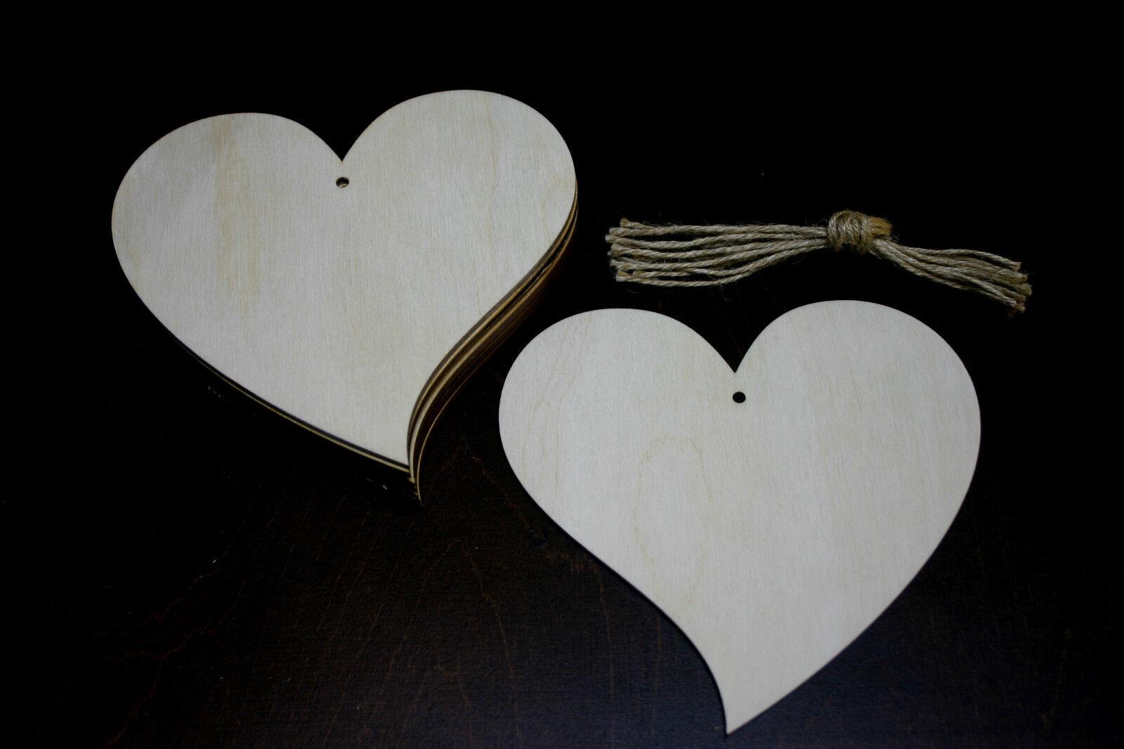 10 Stk Holzherzen 9cm Herzen aus Holz Dekoherzen Hochzeitsdeko Decoupage !! 2