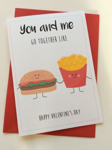 Perfect Couple Burger /& Chips Personalised Valentines Day Card Cute Funny