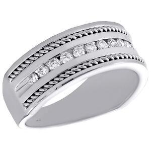 14K-Oro-Bianco-Diamante-Rotondo-Turca-Fede-Nuziale-8-50mm-Corda-Confine-Anello