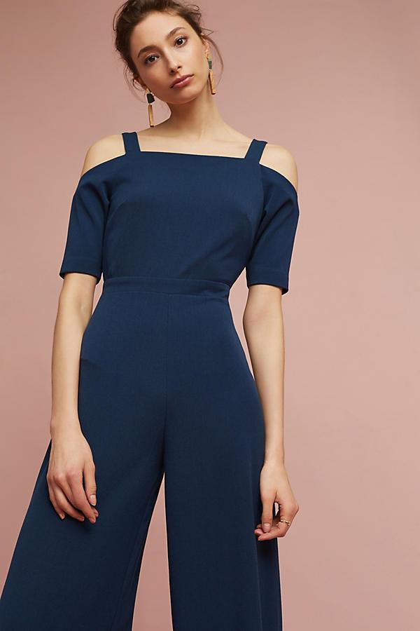 Neuf avec étiquettes bleu marine Anthropologie Bleu Abigail Ouvert Épaule Combinaison par vu porté gardé 6