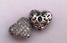 Micro Pave Cubic Zirconia Heart, Platinum Colour Bead