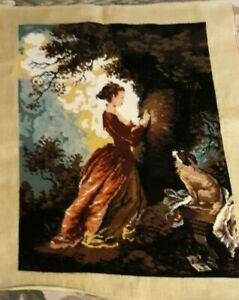 Tapestry Antique French Needlework Or Needlepoint 19th Century 32'' X 26 1/2'' Fragrant Aroma Linens & Textiles (pre-1930) Tapestries