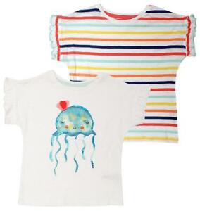 Girls-PACK-OF-2-Jellyfish-amp-Stripe-Cotton-T-Shirt-Summer-Tops-1-to-6-Years