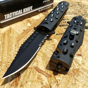 """8.5"""" Tactical Folding Pocket Knife Spring Assisted Open Serrated Blade Rescue"""