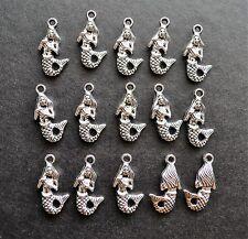 15 Pretty Tibetan Style Antique Silver Mermaid Charms Nautical Sea Beach Theme