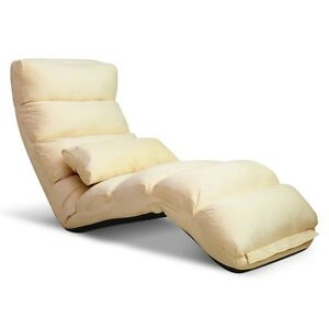 NEW-Lounge-Sofa-Bed-Floor-Recliner-Chaise-Chair-Adjustable-Foldable-Amber-Taupe