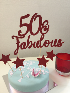 Surprising Any Numbers 50Fabulous Cake Topper 50Th Birthday Cake Topper Personalised Birthday Cards Veneteletsinfo