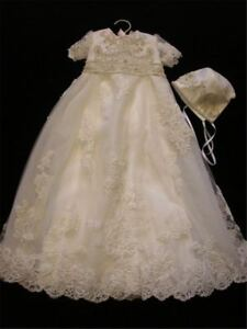 a89139e7a Image is loading White-Ivory-Vintage-Christening-Dress-Baptism-Gowns-Lace-