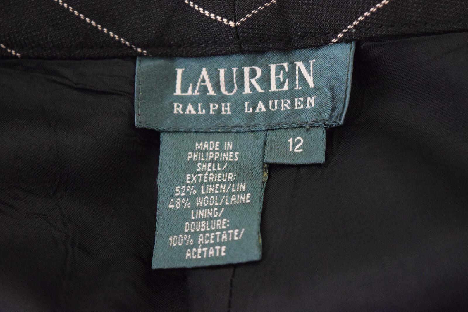Ralph Lauren Womens Wool linen Black Striped Care… - image 6
