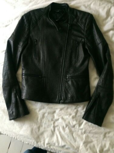 THEORY negro cuero Biker Jacket SMALL/UK8