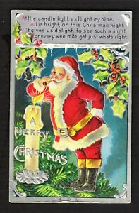 SANTA-Claus-with-Pipe-Candle-Holly-Antique-Embossed-Christmas-Postcard-b15