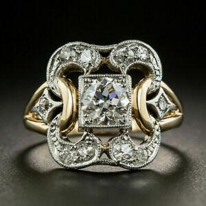 Luxury-Two-Tone-925-Silver-Rings-Women-White-Sapphire-Wedding-Ring-Size-6-10