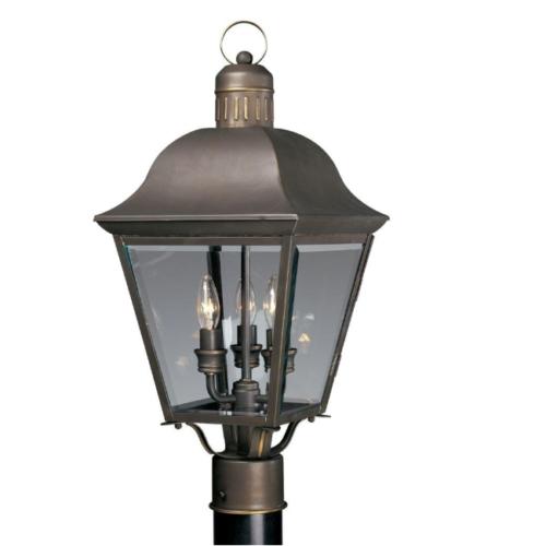 3-Light Antique Bronze Post Lantern