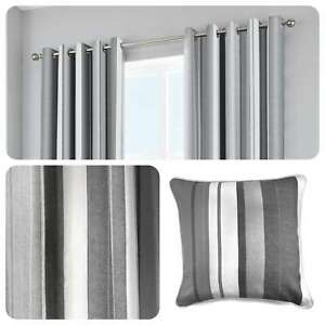 Fusion-WHITWORTH-STRIPE-Grey-100-Cotton-Ready-Made-Eyelet-Curtains-amp-Cushions
